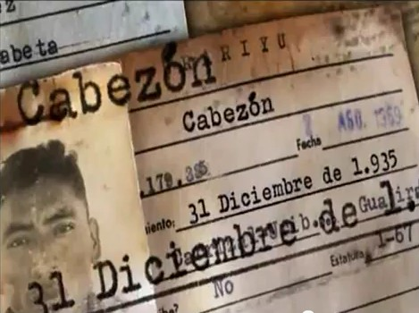 """Cabezón, the """"mock name"""" featured on this government issued ID card, is  the Spanish word for """"stubborn"""" or """"big-headed"""". Photo from the film """"Nacimos el 31 de diciembre"""""""